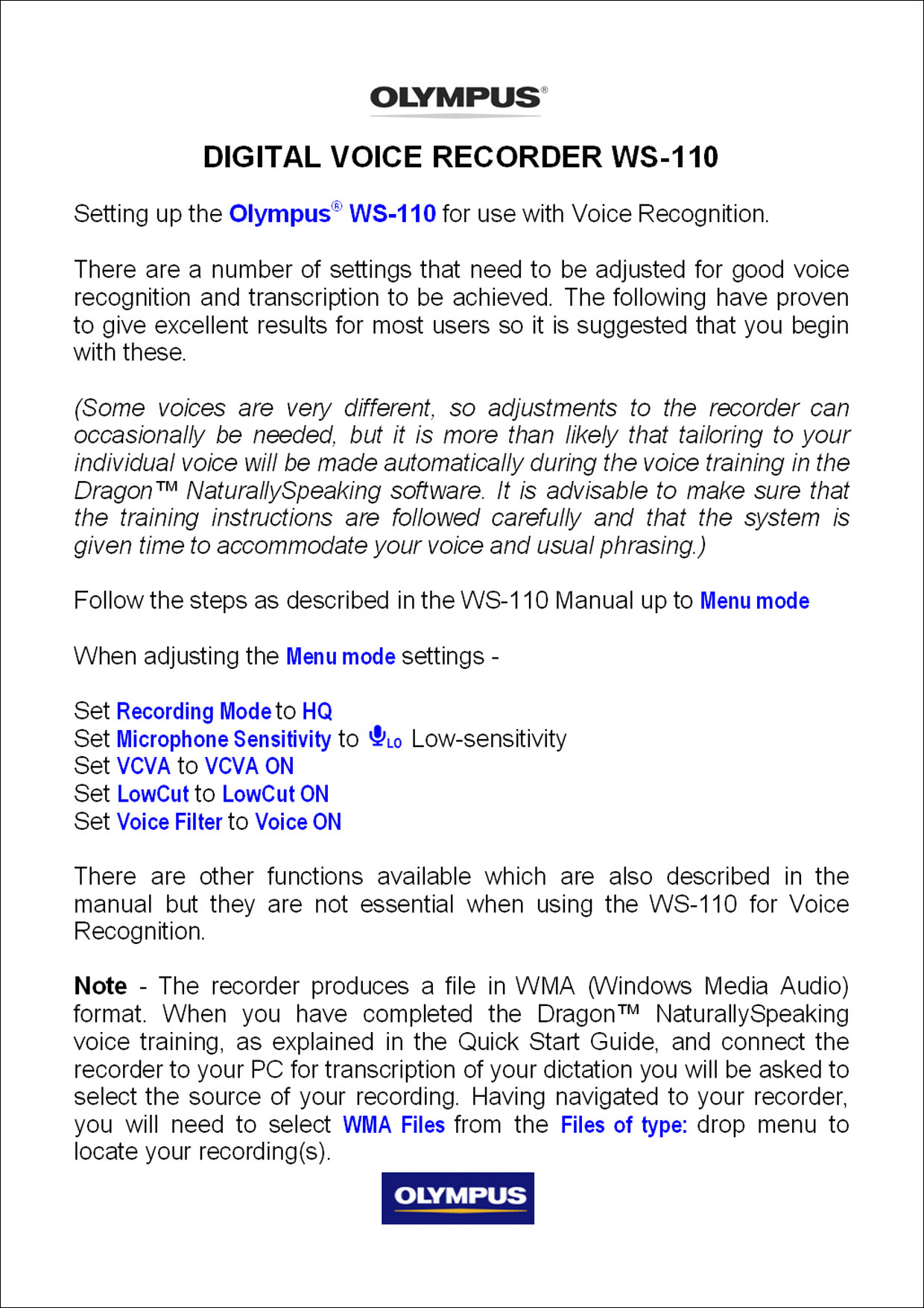 how to use olympus voice recorder